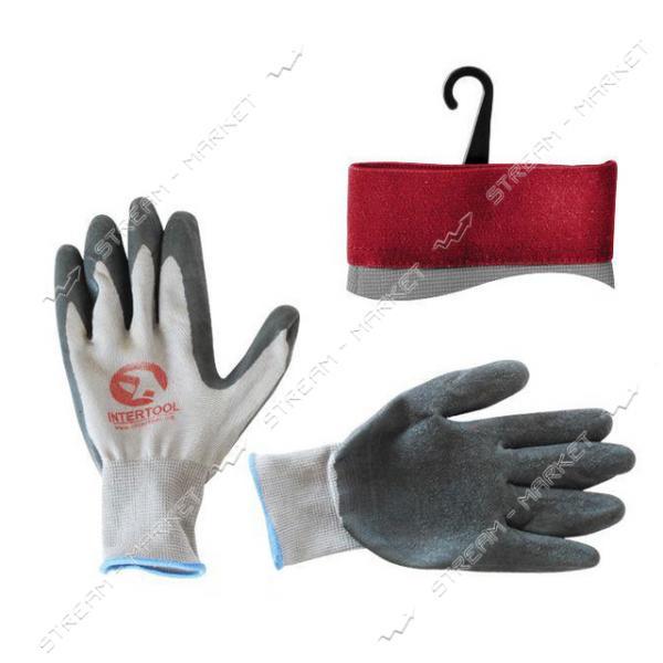 Перчатка INTERTOOL SP-0121 серая вязанная синтетич., покрытая серым рифлен.латексом 10'