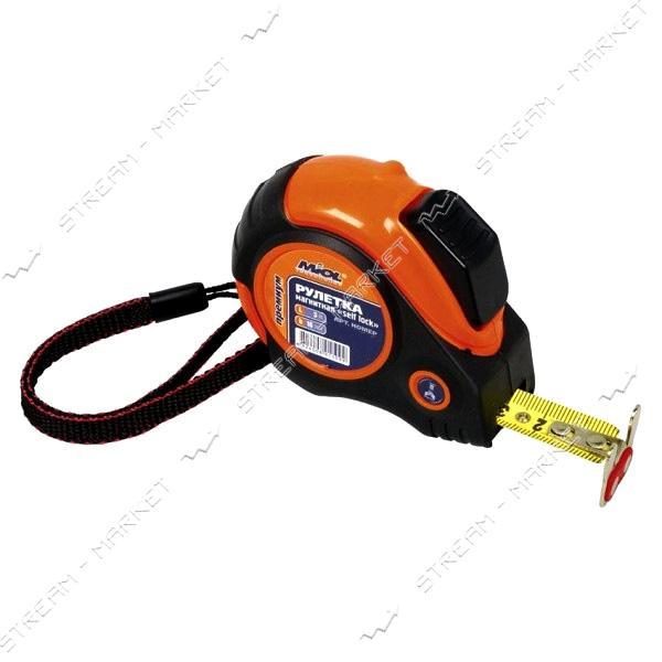 Miol 10-710 Рулетка магнит. self lock обрезинен. с двусторонн. лентой 10 м PREMIUM