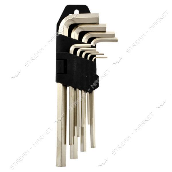 Набор Г-образных шестигранных ключей 1, 5-10 мм короткие Хром