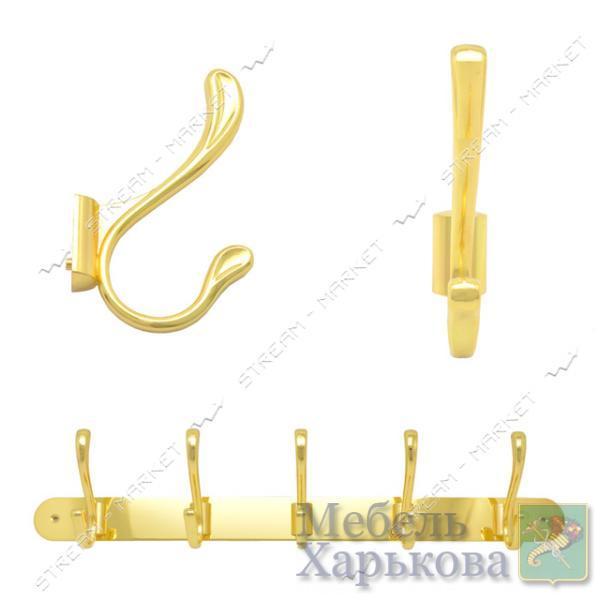 Вешалка на 5 крючков 309 золото - Вешалки для одежды в Харькове