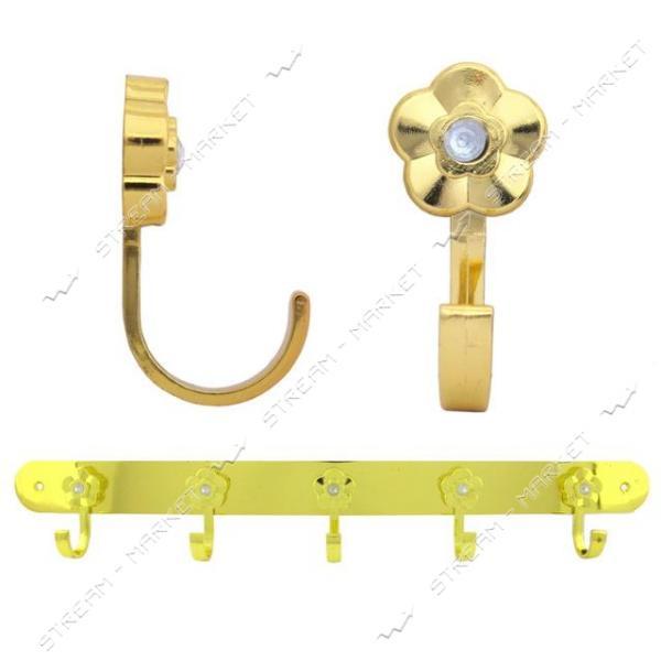 Вешалка на 5 крючков 304 золото