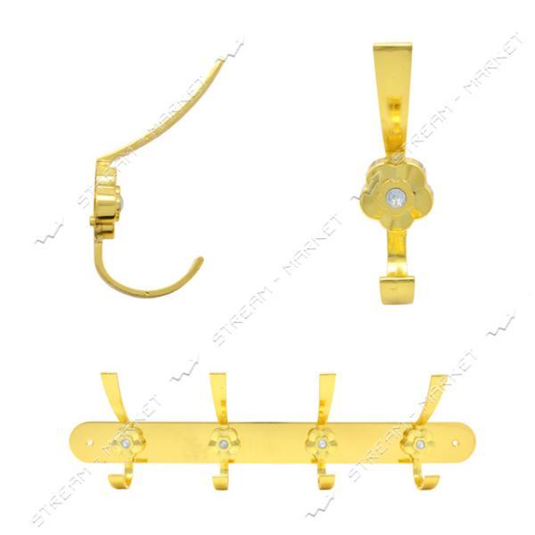 Вешалка на 4 крючка 305 золото