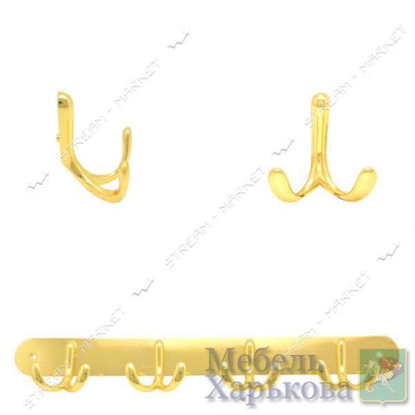 Вешалка на 4 крючка 308 золото - Вешалки для одежды в Харькове