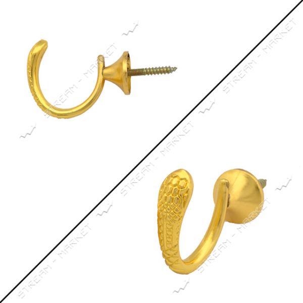 Крючок мебельный 6056 Кобра с шурупом золото Miradel
