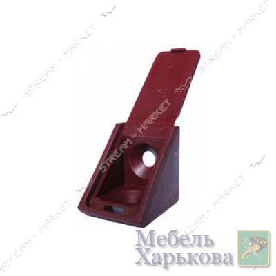 Уголок мебельный пластик одинарный вишня - Мебельные стяжки и уголки в Харькове