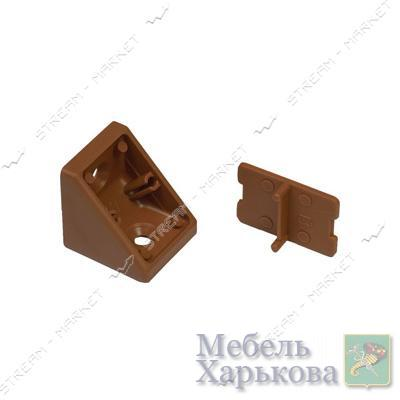 Уголок мебельный пластик одинарный орех - Мебельные стяжки и уголки в Харькове