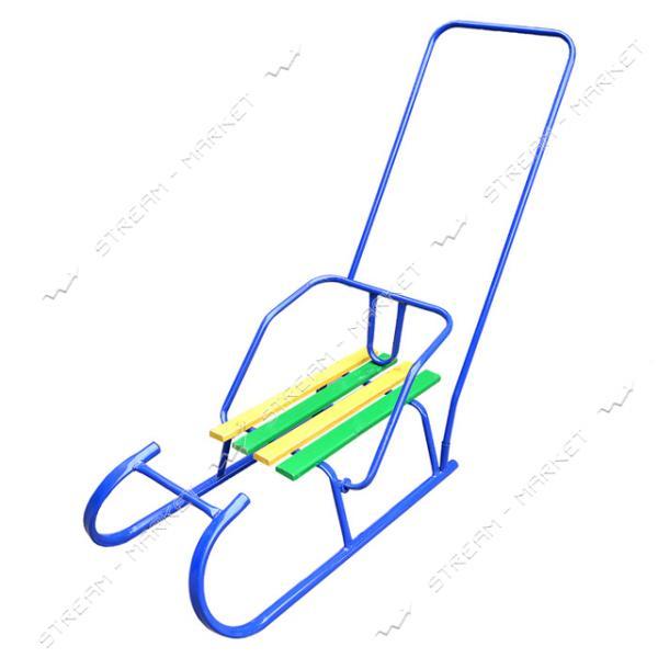 Санки 'Баран' труба сиденье цв. дерево с толкателем (ручка угловая высокая)