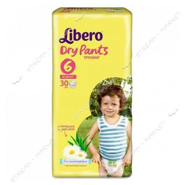 Libero Подгузники-трусики детские Dry Pants 6 XL (13-20кг) с ромашкой 30шт