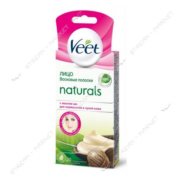 VEET Восковые полоски для депиляции Naturals для нормальной и сухой кожи лица с маслом Ши 20шт