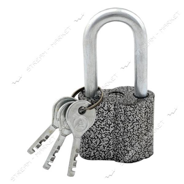 Замок навесной ASPECT ЗН-А-55-П-Д, 3кл. длинная дужка, алюминий серебро