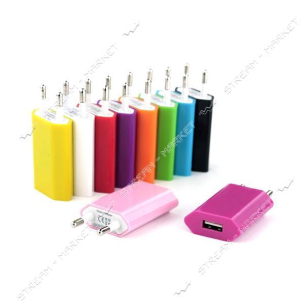 Сетевое зарядное устройство 5V/0.5А 1USB, цвета в ассортименте
