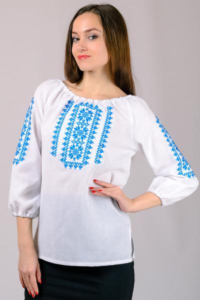 Женская вышиванка, белая, рукав 3\4  р-р 44, 46,48