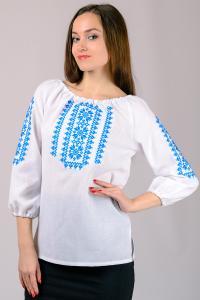 Фото Вышиванка женская Женская вышиванка, белая, рукав 3\4  р-р 44, 46,48