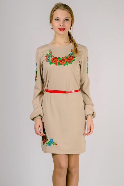Женское трикотажное платье, вышиванка Размеры: M,L,XL,XXL