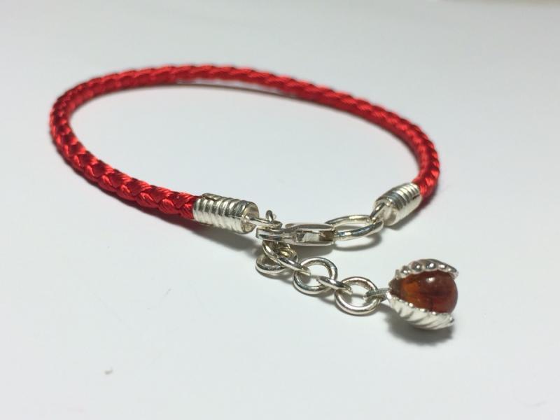Шёлковый браслет с серебряными вставками