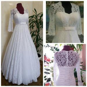 Фото Свадебные платья Кружевное свадебное платье для полных Люба