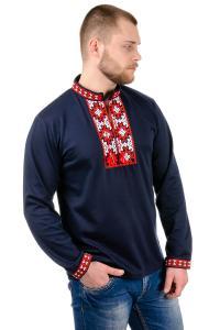 Фото Мужская вышиванка (футболки, рубашки) Трикотажный свитшот вышиванка_темно-синий: 44, 46, 48, 50, 52, 54.