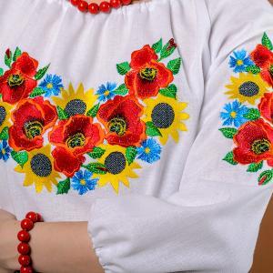 Фото Вышиванка женская Женская вышиванка Летний букет (рукав 3/4) Размеры: 44 р,46 р,48 р,50 р