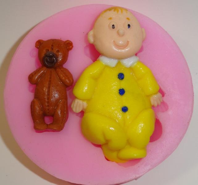 """Молд силиконовый """"Малыш и медвежонок"""" 8,5 см"""
