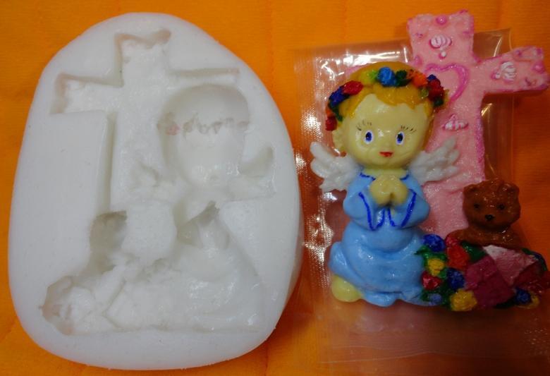 """Молд силиконовый """"Ангел молящийся"""" 9 см  7,4 см"""