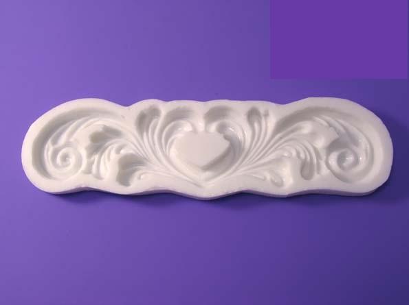 """Молд силиконовый """"Завиток - сердце""""  17 см 4 см"""