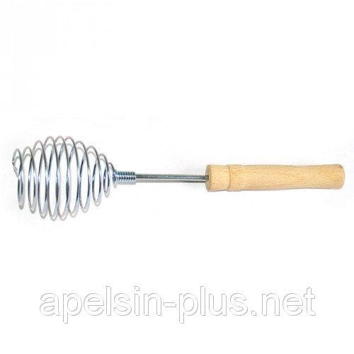 """Венчик """"Спираль"""" металлический с деревянной ручкой35 см"""