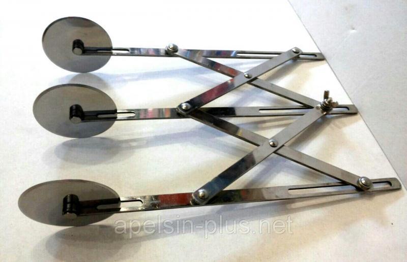 Фото Ролики кондитерские Кондитерский раздвижной дисковый нож на 3 гладких ролика