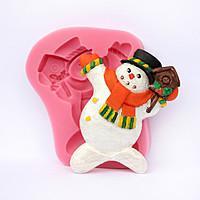 """Молд силиконовый """"Снеговик со скворечником"""" 5,0 см 6,5 см"""