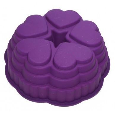 """Силиконовая форма для пирога """"Сердечки по кругу"""" 25,5 см"""