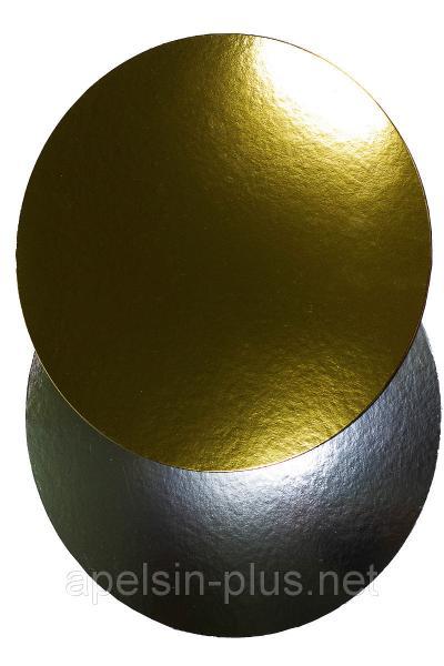 Подложка кондитерская 30 см золото-серебро двухслойная