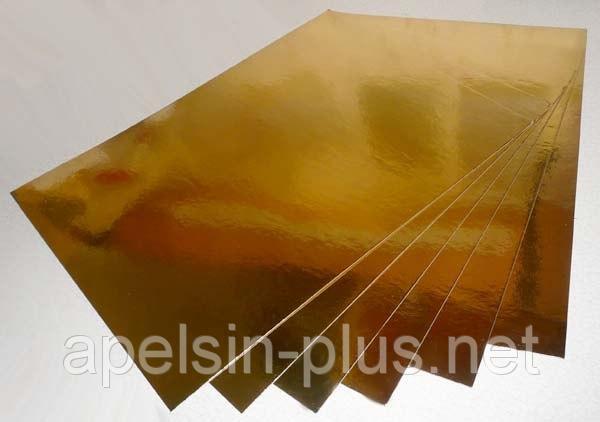 Подложка кондитерская 30 см - 40 см золото-серебро двухслойная