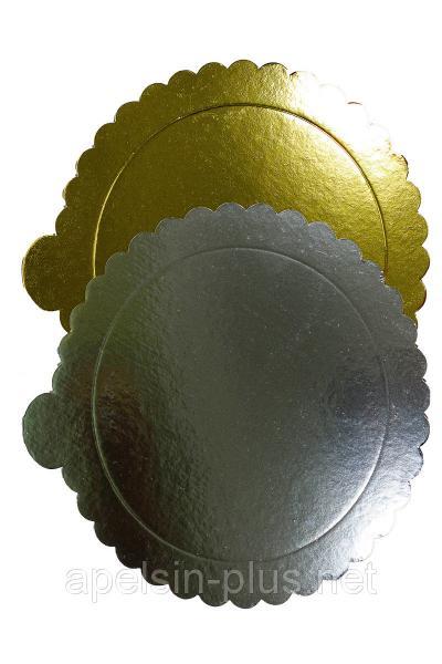 Подложка кондитерская усиленная 26 см золото-серебро