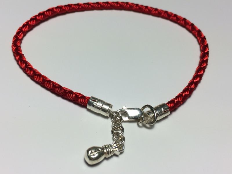 Фото Браслеты кожа,каучук,шёлковые шнуры - со вставками Шёлковый браслет с серебряными вставками