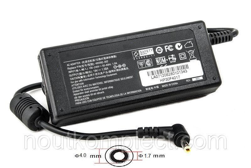 Блок питания для ноутбуков PowerPlant HP 220V, 19V 30W 1.58A (4.0*1.7)