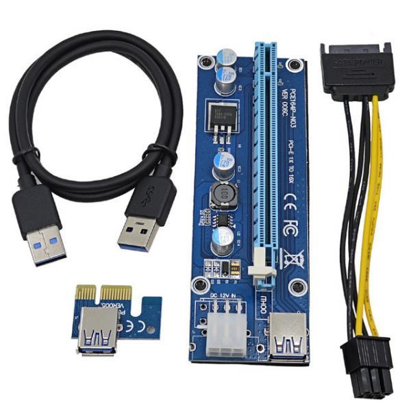 Синий Райзер riser PCI-Ex x1 to x16, питание от Molex 4pin, Version 006C, USB, 0.6m, BLUE (PCE164P-N03)