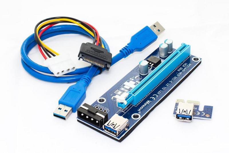 Синий Райзер riser PCI-Ex x1 to x16, Molex 4pin, Version 006, USB, 0.6m, BLUE (PCE164P-N03)