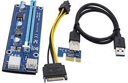 Синий Райзер riser PCI-Ex x1 to x16,  Video PSU 6pin, Version 009S, USB, 0.6m, BLUE, LED+4 x 270mF