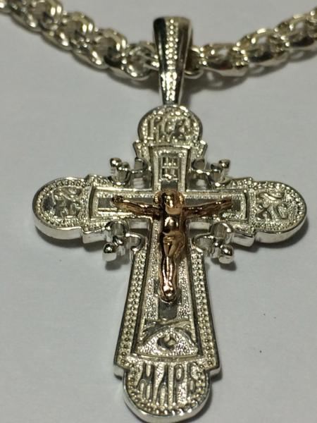 Серебряный крест 925 с золотым распятием 585