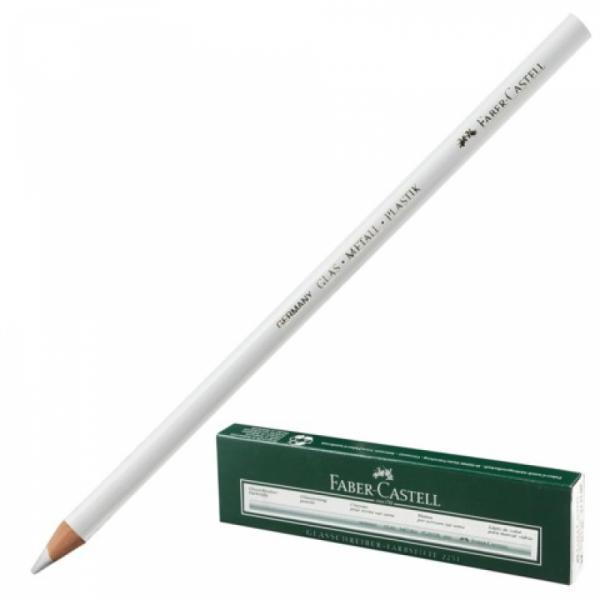 """Карандаш перманентный специальный белый """"Faber Castell"""" для всех гладких поверхностей."""