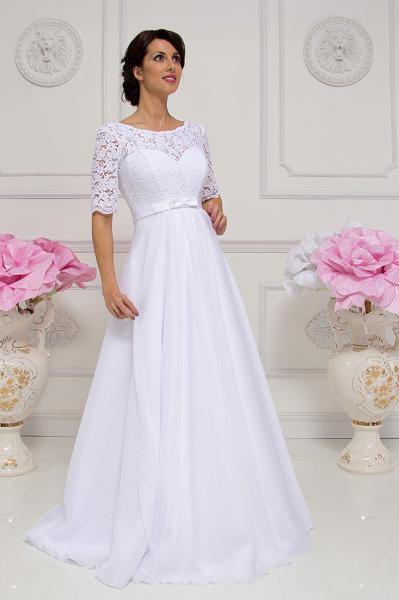Легкое непышное свадебное платье для беременных Джуди