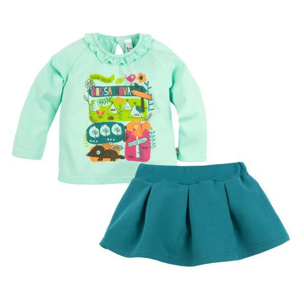 Комплект джемпер и юбка с принтом для девочки