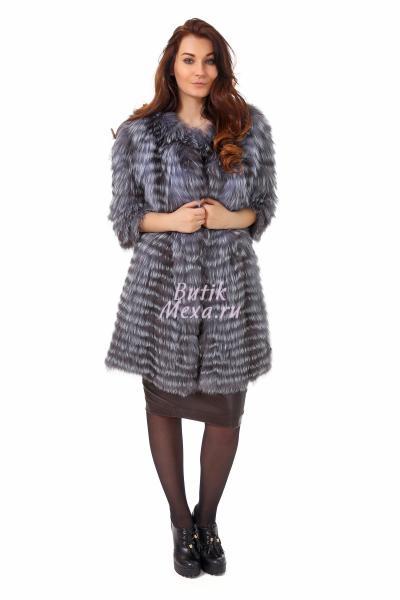 Серое пальто из чернобурки