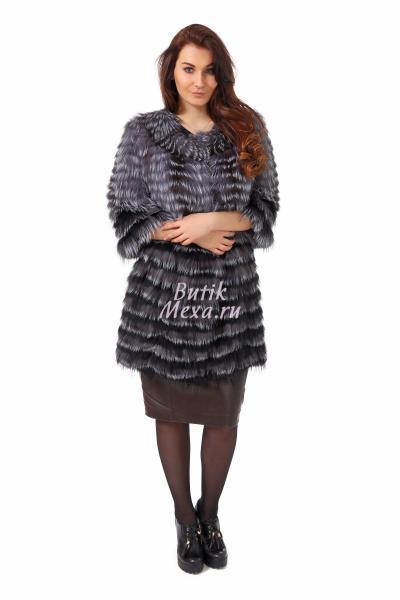 Черное пальто из чернобурки