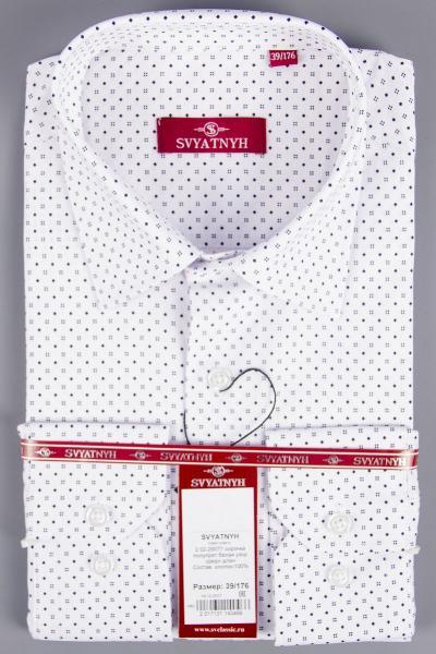 2.02-29077 сорочка полуприт белая узор средн длин