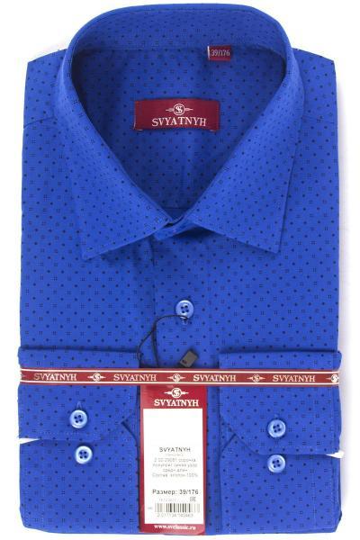 2.02-29081 сорочка полуприт синяя узор средн длин