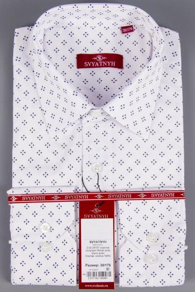 2.02-29107 сорочка полуприт белая узор крупн длин
