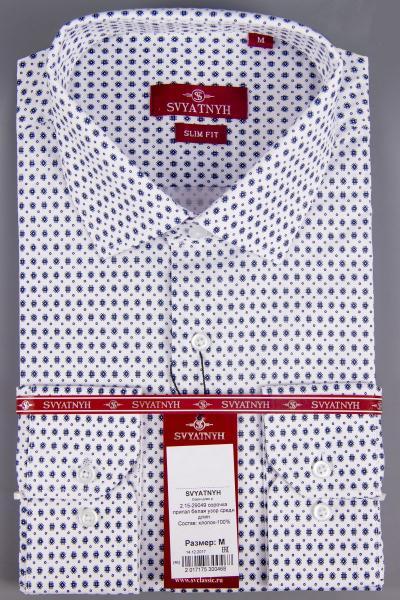 2.15-29049 сорочка притал белая узор средн длин