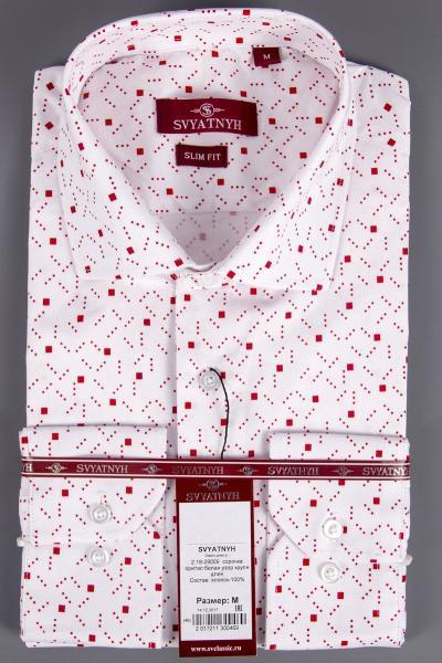 2.18-29009 сорочка притал белая узор крупн длин