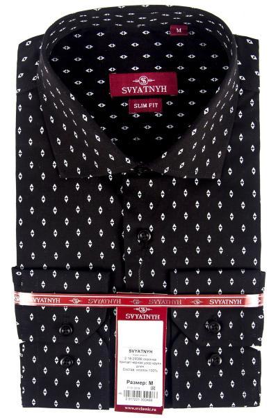2.18-29086 сорочка притал чёрная узор крупн длин