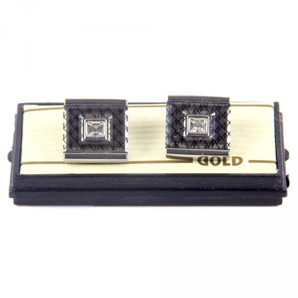 7.02.001.005 запонка сереб квадр с камн короб прозр